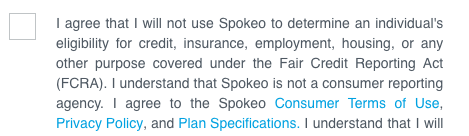Image of Spokeo terms of agreement with consumer agreement, privacy policy, and plan specifications