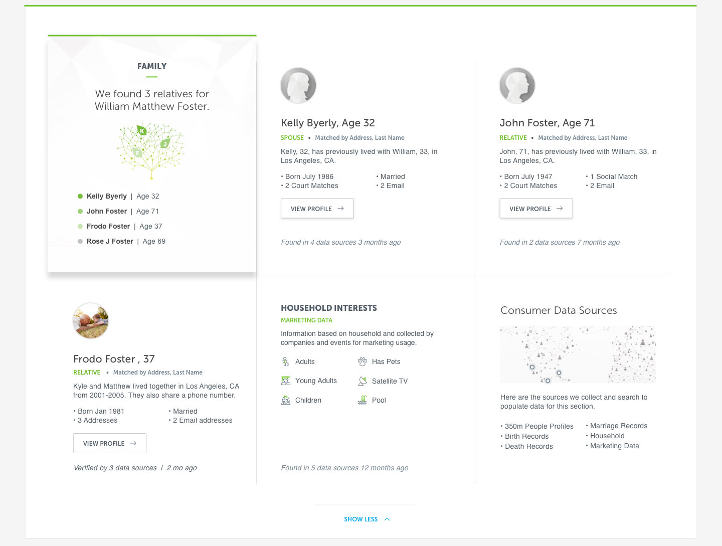 Image of the second half of the Spokeo profile that can include family members, interests, and data sources