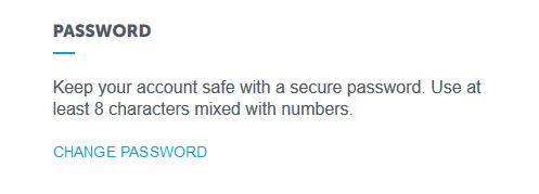 Image of the password reset option in the Spokeo Account settings.